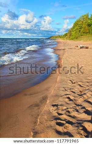 Lake Superior in northern Michigan under beautiful sunlight - stock photo