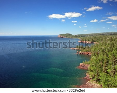 Lake Superior north shore sky and water - stock photo