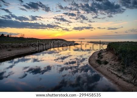 Lake Superior sunset at AuTrain, Michigan's Upper Peninsula. - stock photo