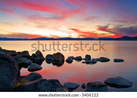 Lake Tahoe after sunset - stock photo