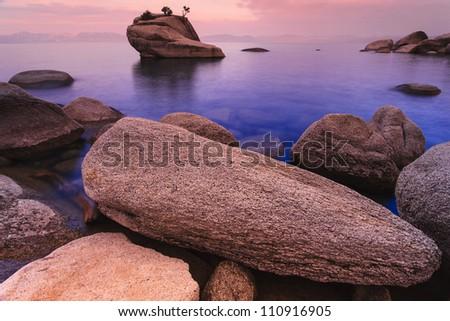 Lake Tahoe at sunrise near Sand Harbor - stock photo