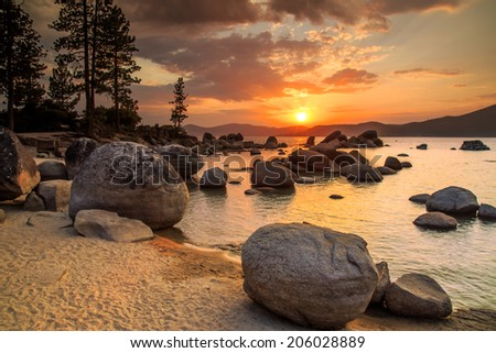 Lake Tahoe at sunset - stock photo