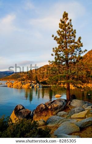 Lake Tahoe at sunset - stock photo