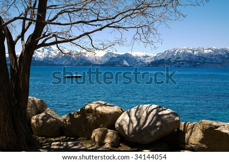 LAKE TAHOE from Cave Rock Point - stock photo