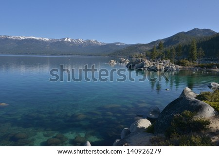 Lake Tahoe in America in both the States of Nevada and California in Early spring.