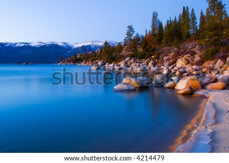 Lake Tahoe in Winter after sunset - stock photo