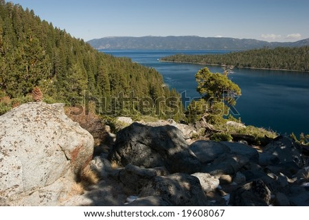 Lake Tahoe is a large freshwater lake in the Sierra Nevada mountains of the United States. It is located along the border between California and Nevada