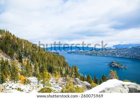 Lake Tahoe Island Mountain View - stock photo