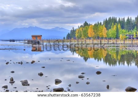 Lake Tahoe Reflection, High Dynamic Range - stock photo