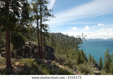 Lake Tahoe Shoreline View - stock photo