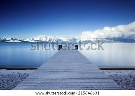 Lake Tahoe Snowy Pier - stock photo