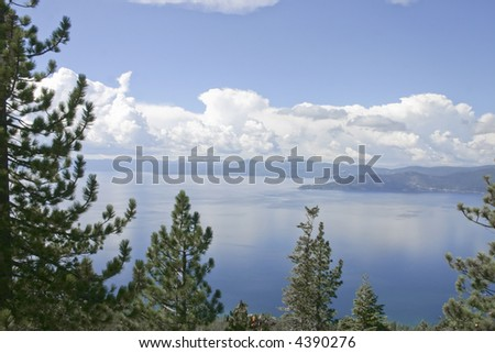 Lake Tahoe, view from the flume trail - stock photo