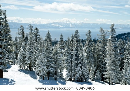 Lake Tahoe view from the mountain on Ski Resort - stock photo