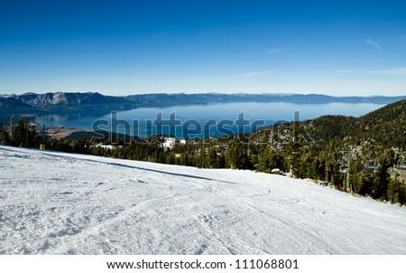 Lake Tahoe view from the ski run on alpine resort - stock photo