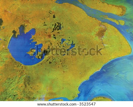 Lake Tai-Hu and Shanghai, China - bird's-eye view - stock photo