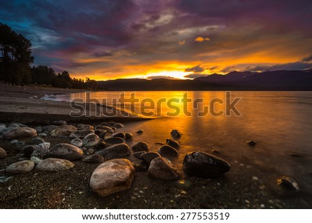 Lake Te Anau, Te Anau, Southland, New Zealand - stock photo
