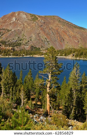 Lake Tioga on pass in an environment of picturesque mountains. Warm serene autumn day