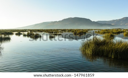 Lake Titicaca, a lake in the Andes on the border of Peru and Bolivia. - stock photo