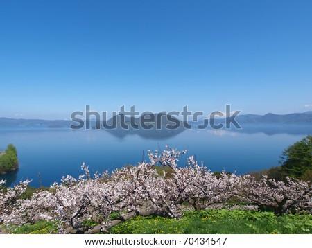 Lake Toya.Toyako(Lake Toya) town is where the 34th G8 summit took place. - stock photo