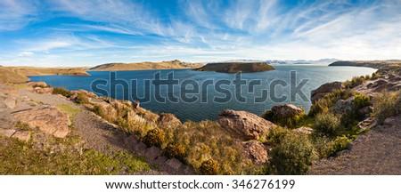 Lake Umayo is a lake in the Puno Region of Peru - stock photo