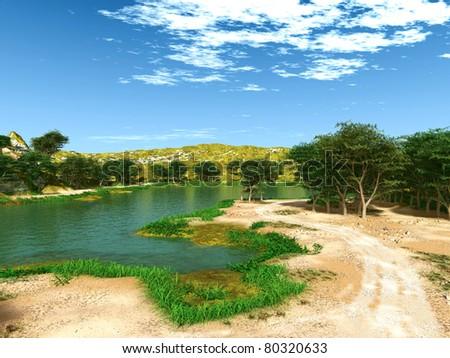 lake view - stock photo