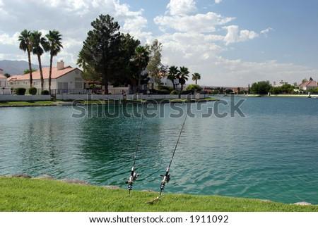 Lake view homes - stock photo