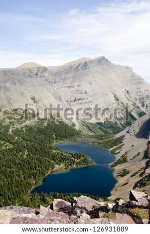 Lake view in the mountains, Waterton Lakes, Alberta - stock photo