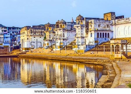 lake view to the ghats of Pushkar - stock photo