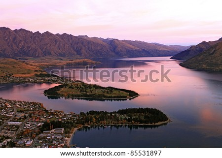 Lake Wakaitipu at Queentowns at dusk - stock photo