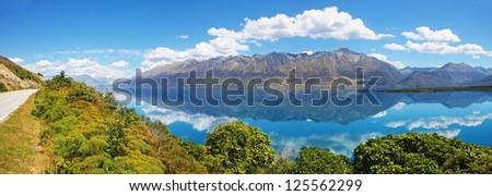 Lake Wakatipu - inland lake (finger lake) in the South Island of New Zealand. - stock photo