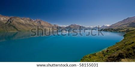 Lake Wakatipu just outside of Queenstown, New Zealand - stock photo