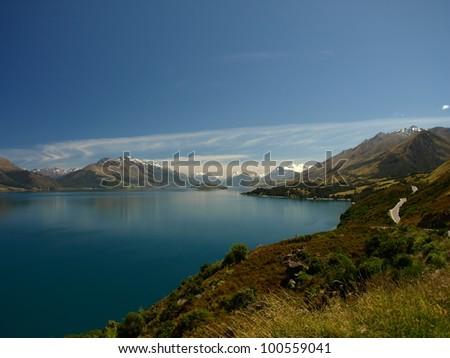 Lake Wakatipu near Queenstown, New Zealand - stock photo