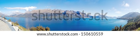 Lake Wakatipu panorama view, Queens town, South Island, New Zealand