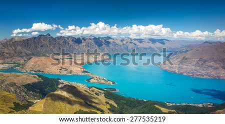 Lake Wakatipu, Queenstown, Otago, New Zealand - stock photo