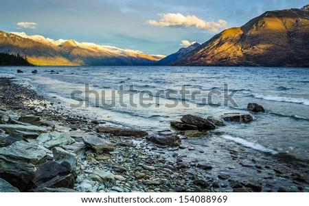 Lake Wakatipu, Queenstwon, New Zealand - stock photo