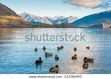 Lake Wanaka and Mt Aspiring in Autumn - stock photo