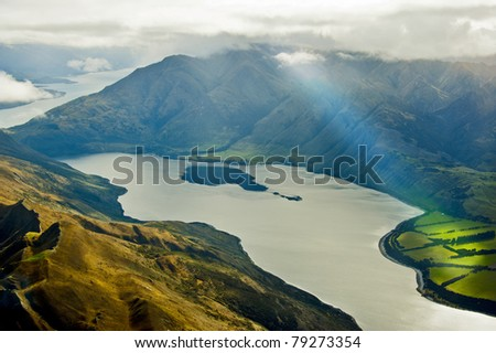 Lake Wanaka and Roy Peaks view from top - stock photo