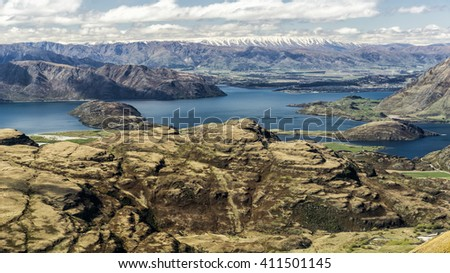 Lake Wanaka region, in New Zealand - stock photo