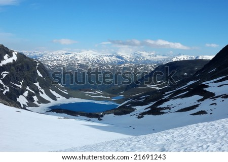 Lake with floating ice in mountains of Norway