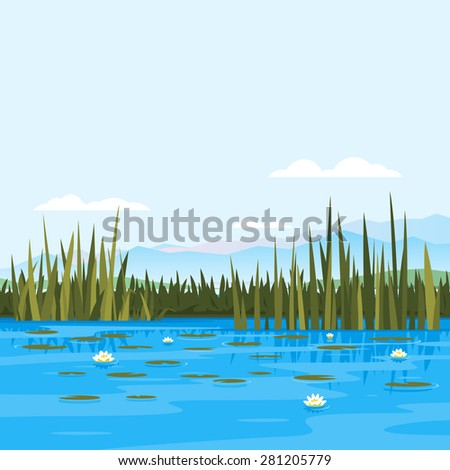 Lake with water lily and bulrush plants, fishing place, pond with blue water, lake travel background, nature landscape - stock photo