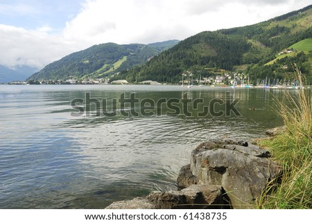 Lake Zell (Zeller See) in the alps of Austria - stock photo