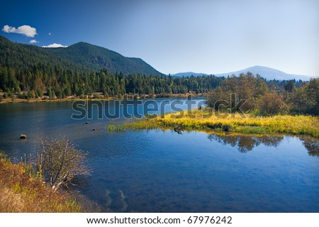 Lakeland with meadow in Montana - stock photo