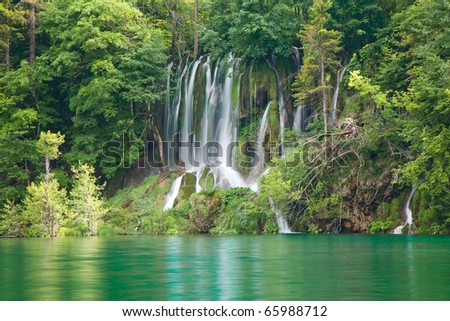 Lakes and waterfall National Park, Croatia - stock photo