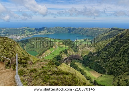 Lakes of Santiago and 7 cidades - Azores, Portugal - stock photo