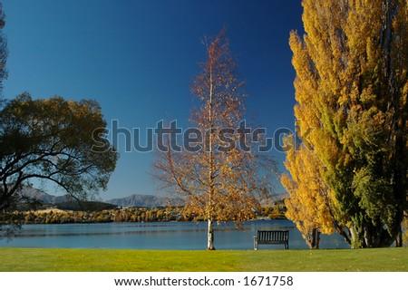 Lakeside in Fall - stock photo