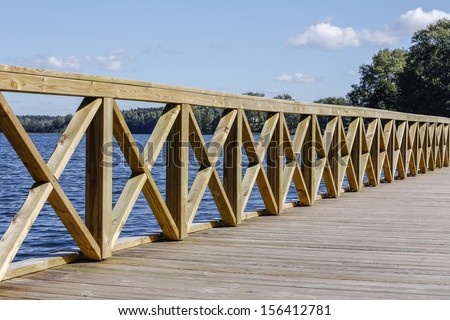 Lakeside jetty at the Masuria lake district in Poland - stock photo