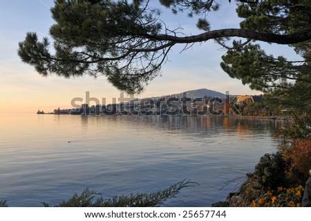 Lakeside of Geneva lake - stock photo