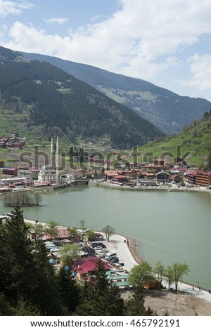 Lakeside town in the mountains of Turkey.