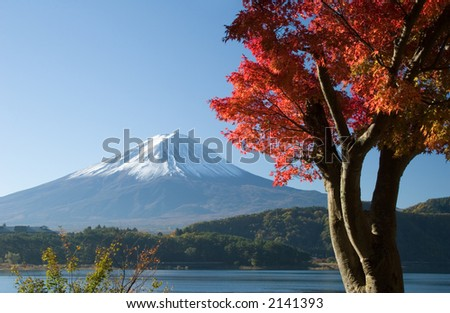 Lakeside view of Mount Fuji with beautiful Fall leaves in foreground - stock photo