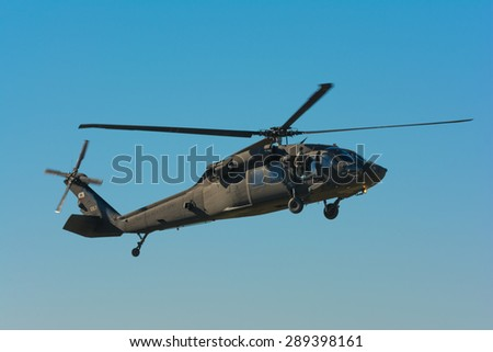 Lakeview Terrace, CA, USA - June 20, 2015: U.S. Army Sikorsky UH-60 Black Hawk helicopter during Los Angeles American Heroes Air Show, event designed to educate the public about rotary-wing aviation.